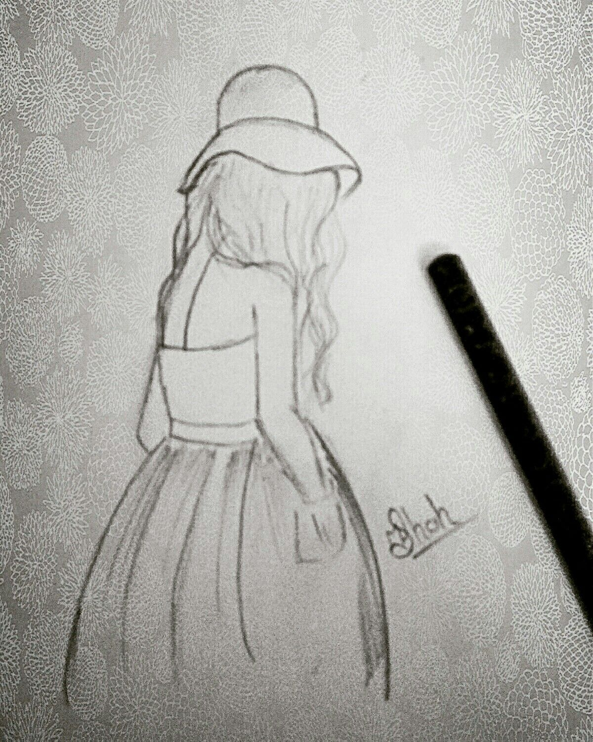 Lonely girl drawing