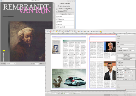 Free, open source desktop publishing software  It's pretty decent
