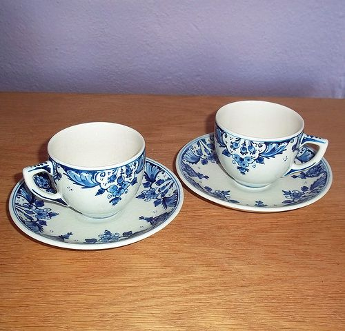 Vintage Royal Delft Cups and Saucers | Flickr - Photo Sharing!