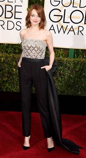 f8dc6f780770b Emma Stone's jumpsuit is the perfect way to dress up the look for a formal  affair.