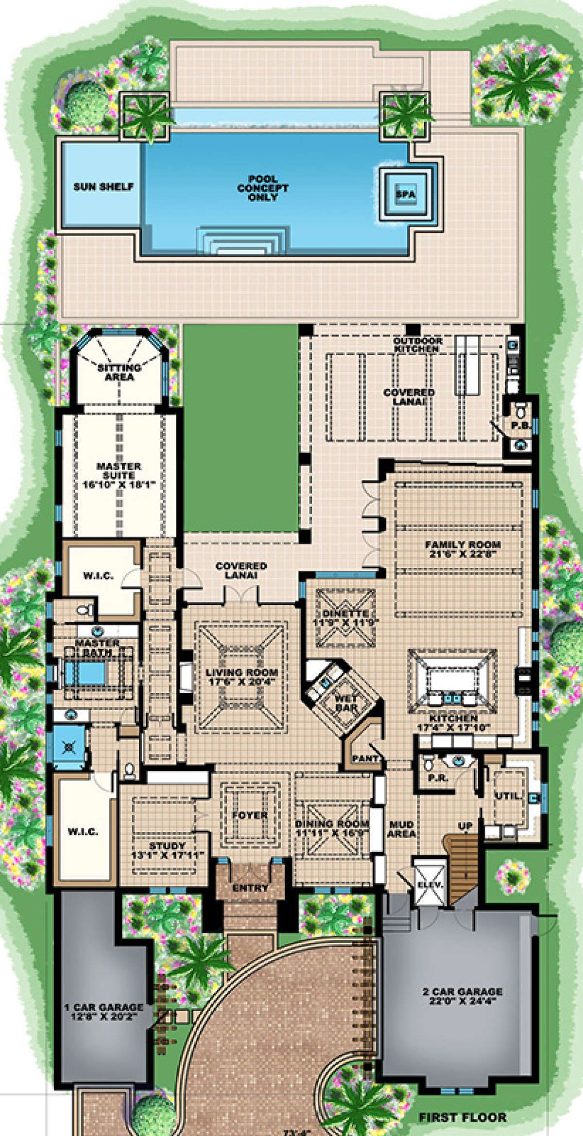 House Plan 1018 00246 Coastal Plan 6 833 Square Feet 5 Bedrooms 6 Bathrooms Minecraft House Plans House Layout Plans Florida House Plans