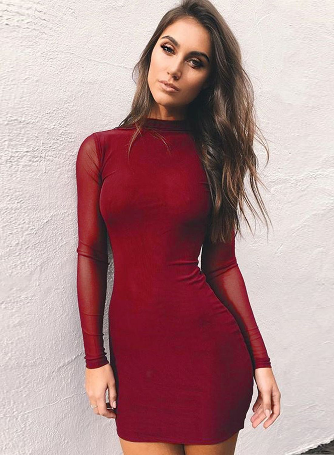 58143b5f5486 Shop Solid Mock Neck Long Sleeve Mesh Bodycon Dress at victoriaswing