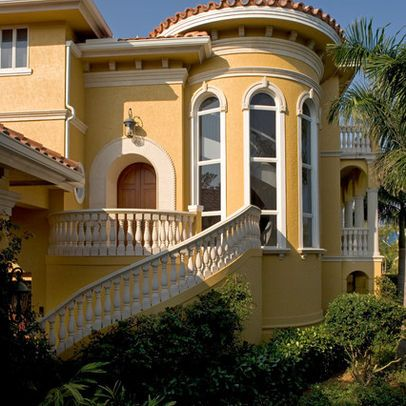 Paint For Mediteranian House Mediterranean Home Yellow Exterior Design Ideas Pictures