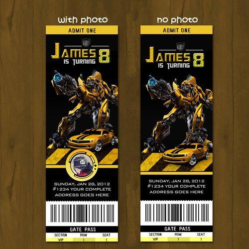 transformers birthday ticket invitation by splashboxprintables,