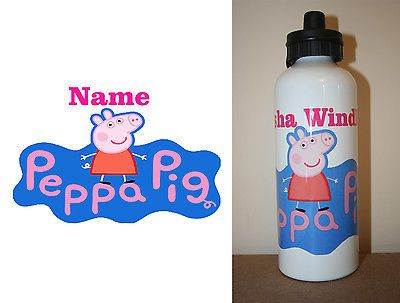 1 x AW2U BRAND NEW Personalised White Drink Bottle - PEPPA PIG with Name