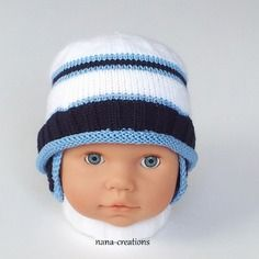 Bonnet bébé tricoté en laine et coton layette, 0/3 mois, blanc, bleu et bleu marine @nana-creations