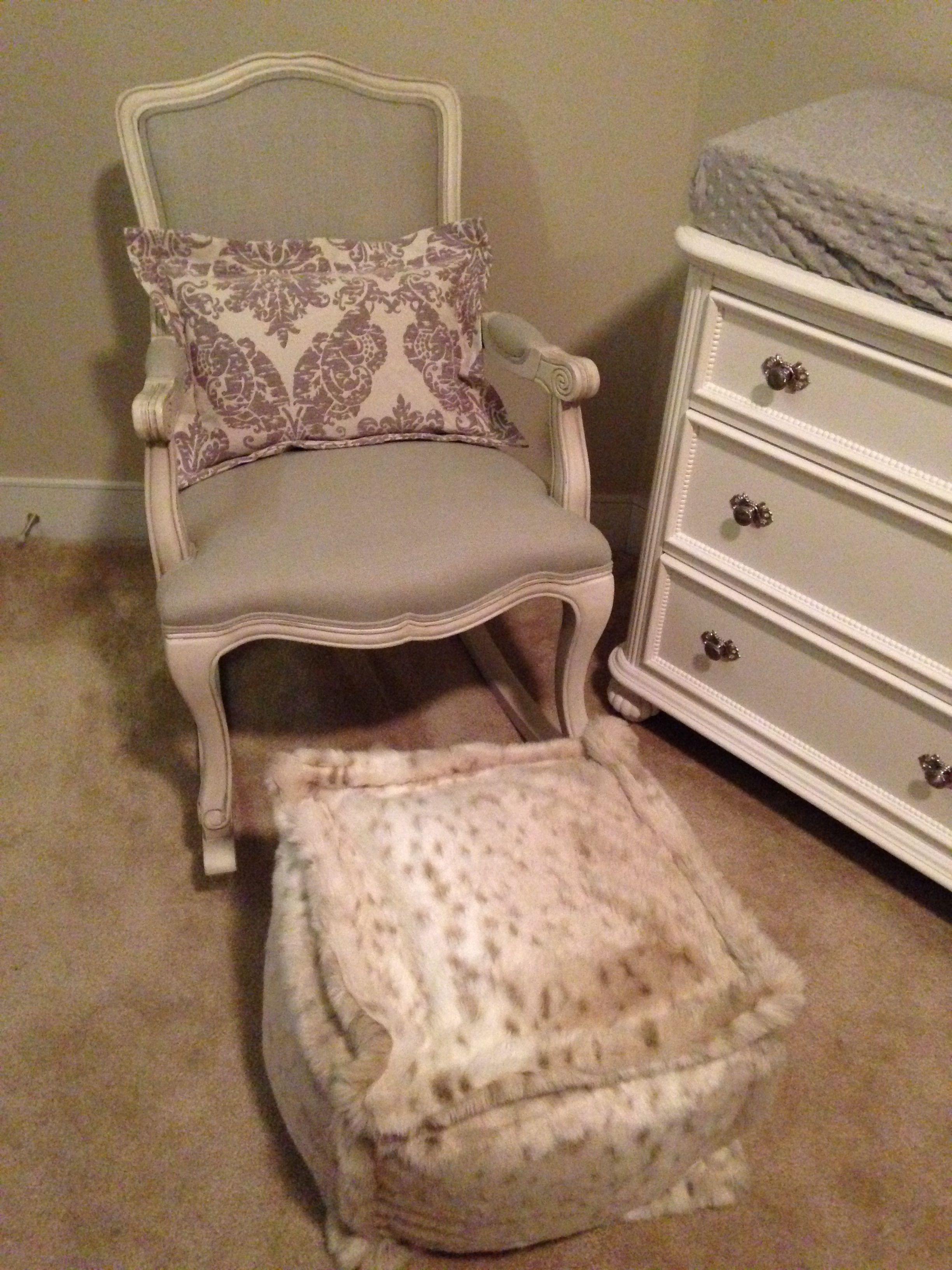 Delicieux Our Beautiful Rocking Chair With Snow Leopard Poof And French Inspired  Damask Pillow.