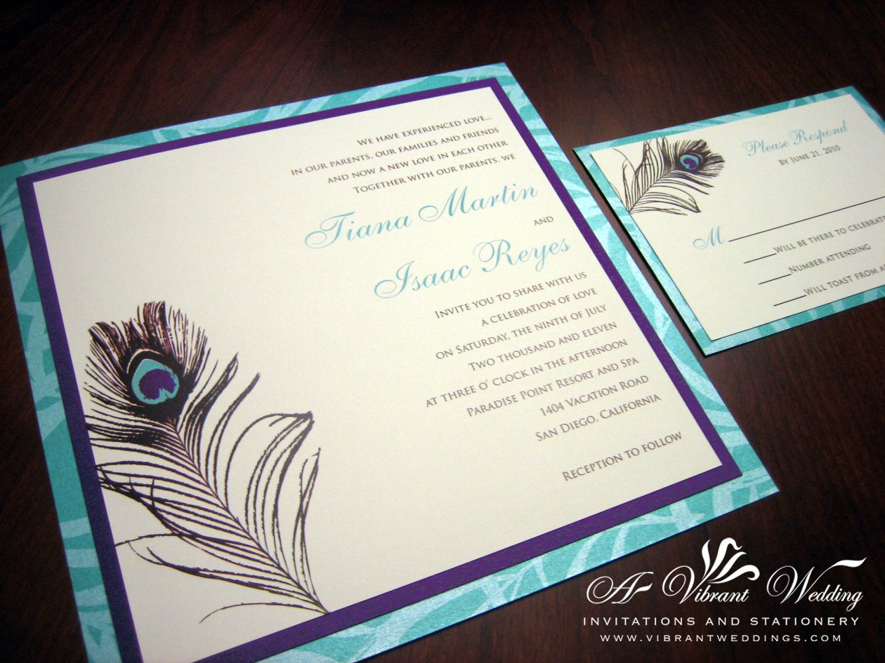 Purple And Tiffany Blue Wedding Invitation With Pea Feather Design