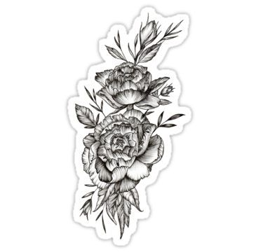 ecde67a7d Blackwork Peony Sticker | Products | Tattoos, Samoan tattoo ...