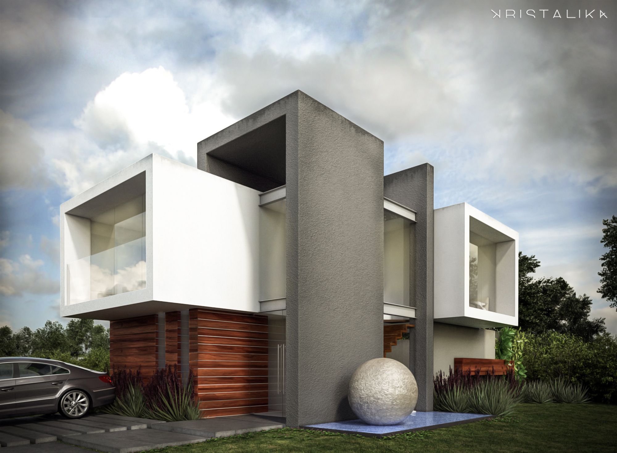 Cf house architecture modern facade contemporary for Villa architecture design plans