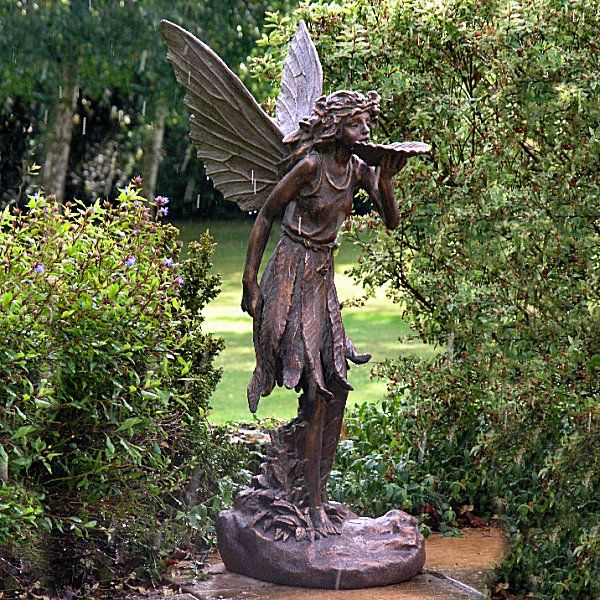 Bon Large Stunning Bronze Effect Standing Fairy   Garden Ornaments
