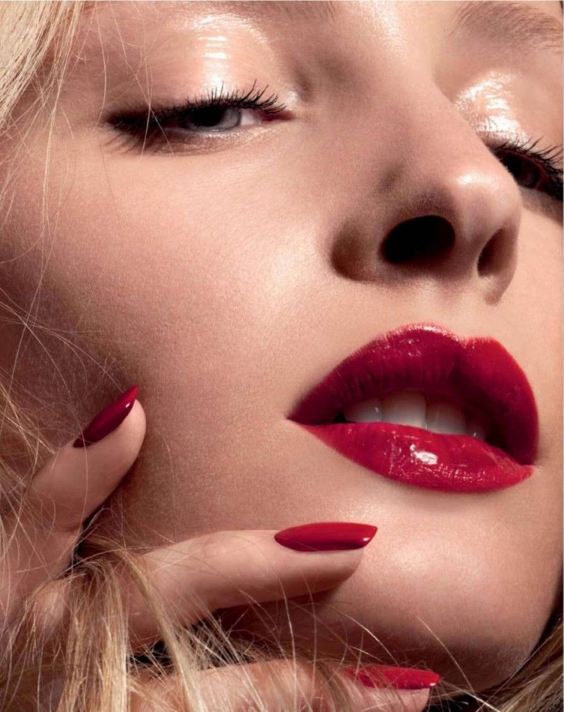 Clear Glossy Eyeshadow With Glossy Red Lips And Red Nails Glossy