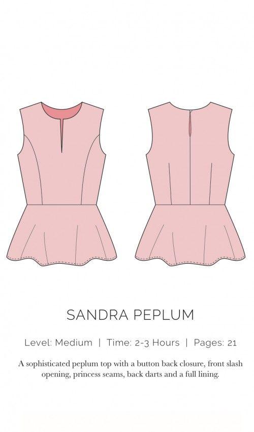 Oberteil Sandra Peplum, XS-XL | Große Größen Erwachsene (ab 44 ...