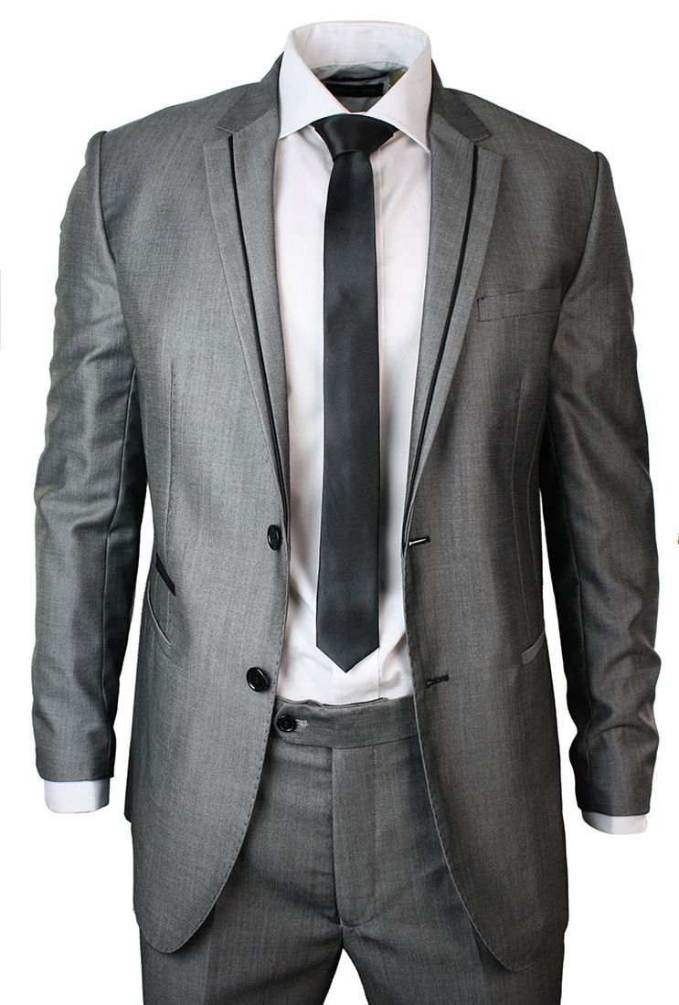 Mens Light Grey Suit Black Trim Slim Fit Wedding Party Office Prom ...