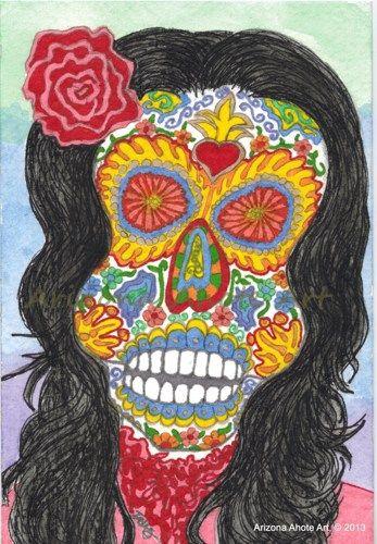 Original Watercolor Painting Dia de Los Muertos Woman 4x6 (Matted) | ArizonaAhoteArt - Folk Art & Primitives on ArtFire