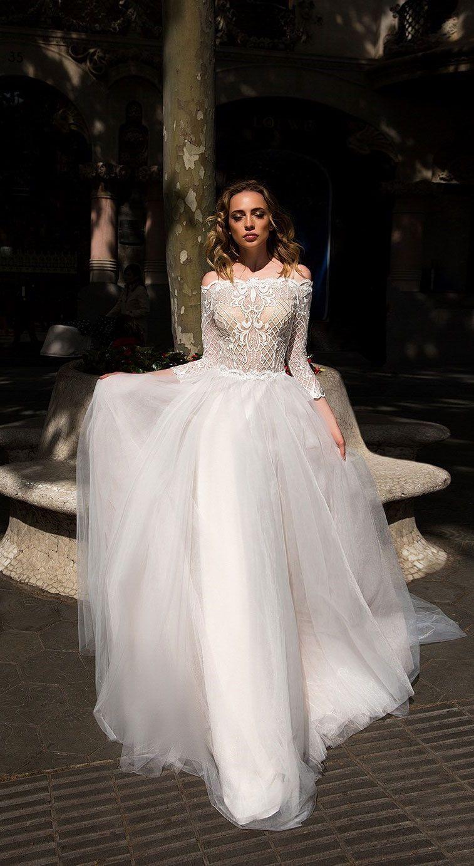 Long sleeves off the shoulder wedding gown ida torez wedding