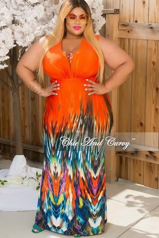 d0f8ef7e76155 New Plus Size Sleeveless Deep V Neck Gown in Orange