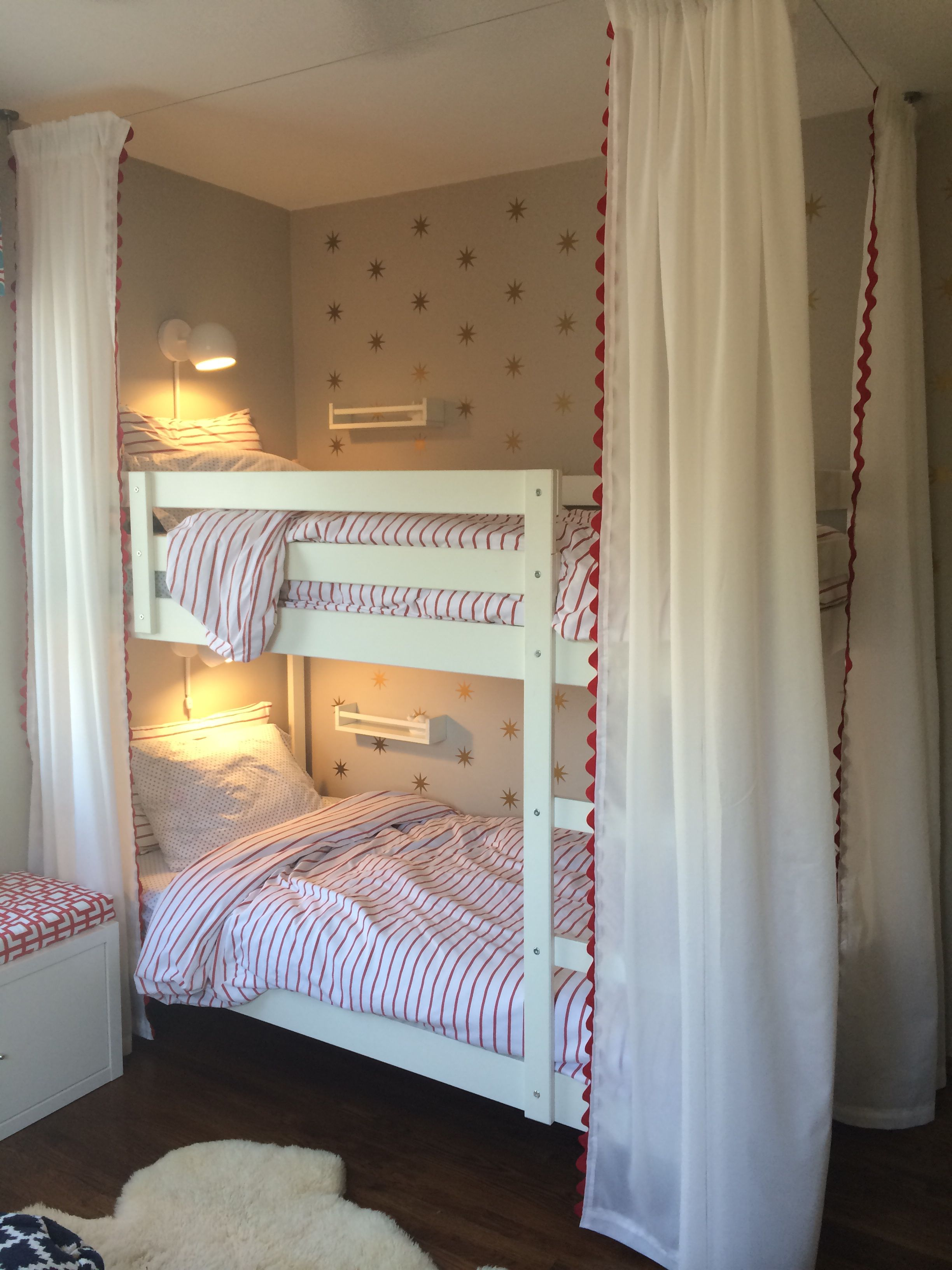 Bunk bed curtains with Ikea track. Kids love it!! Bunk