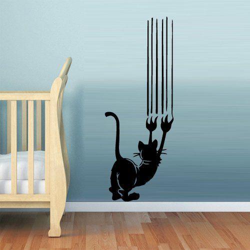 Wall Vinyl Sticker Decals Decor Art Bedroom Cat Scratches Funny (Z718) StickersForLife http://www.amazon.com/dp/B00DH81NTE/ref=cm_sw_r_pi_dp_cvsevb0CDNFWQ