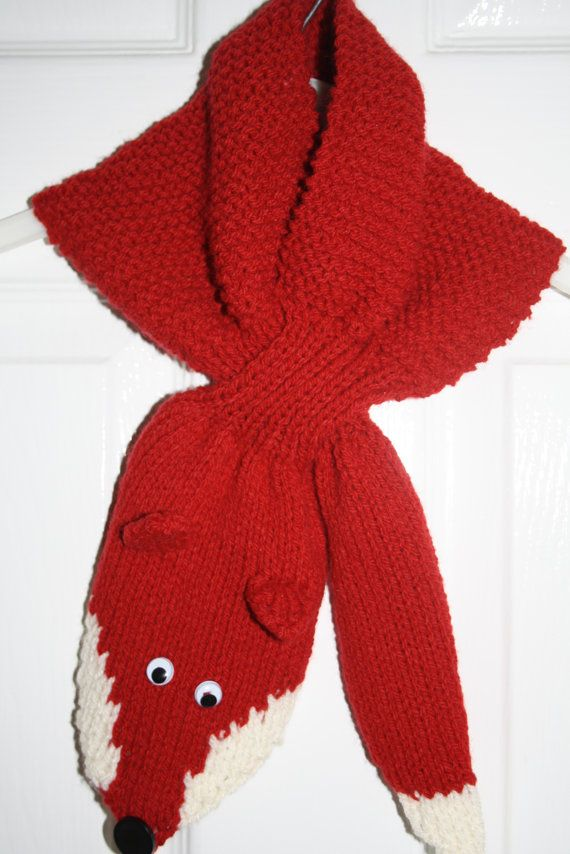 Knitted Ascot scarf hand knit fox scarflette by sweetygreetings ...