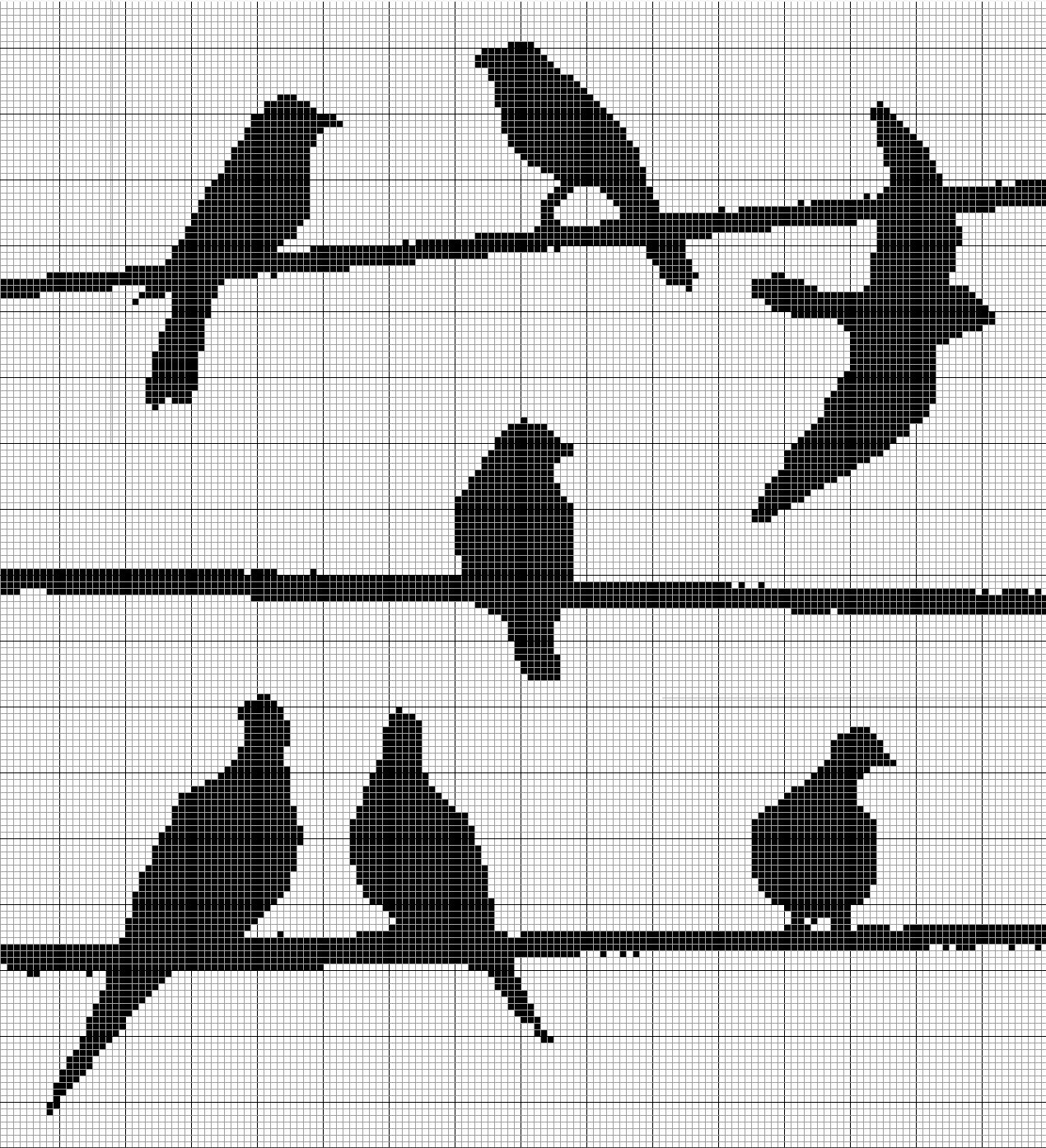 cross stitch pattern, birds on wires | Sewing Projects | Pinterest ...
