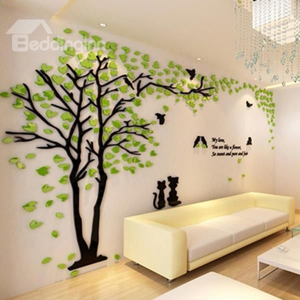 Lovely Creative Design Acrylic Beautiful Tree And Birds Pattern 3d Wall Stickers Tv Decor Wall Stickers Home Decor Home Decor