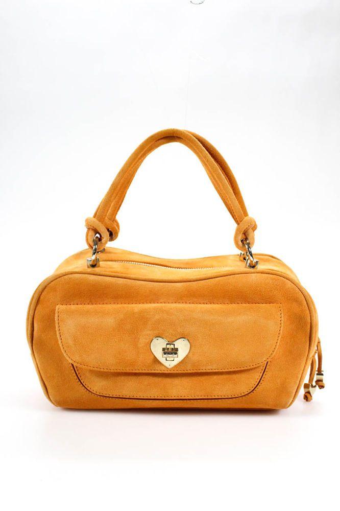 Escada Womens Satchel Shoulder Handbag Mango Orange Suede Gold Tone Heart   Escada  Satchel 5bd439565d126