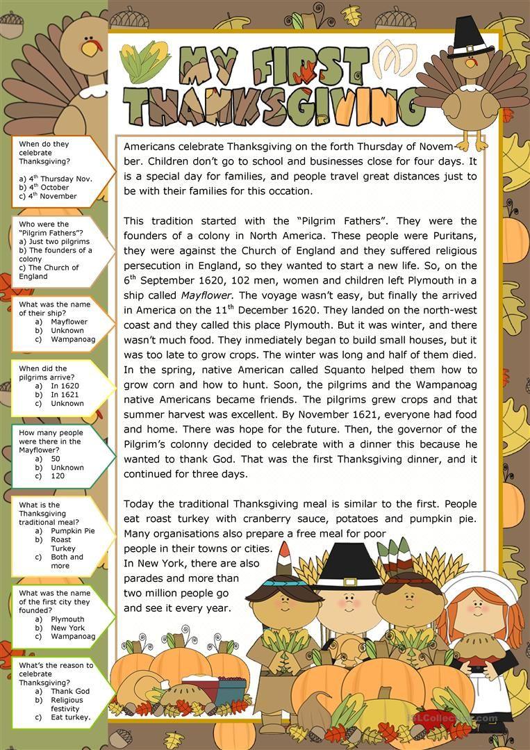 Thanksgiving I Worksheet Free Esl Printable Worksheets Made By Teachers Thanksgiving Reading Comprehension Thanksgiving Readings Thanksgiving Worksheets [ 1079 x 763 Pixel ]