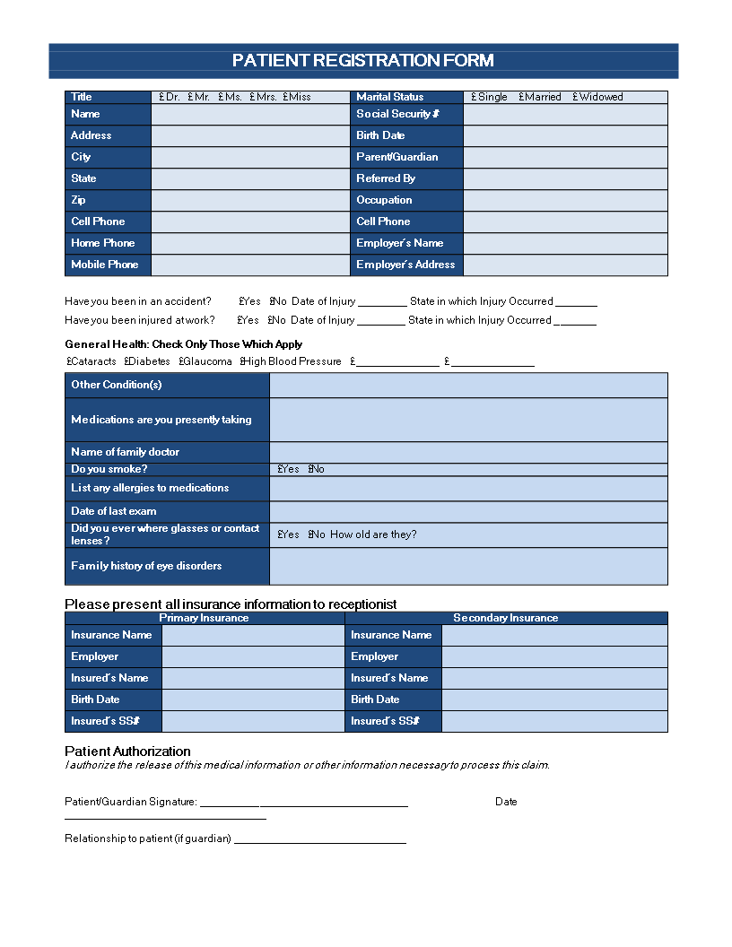 Patient Registration Form  Are You Looking For A Patient