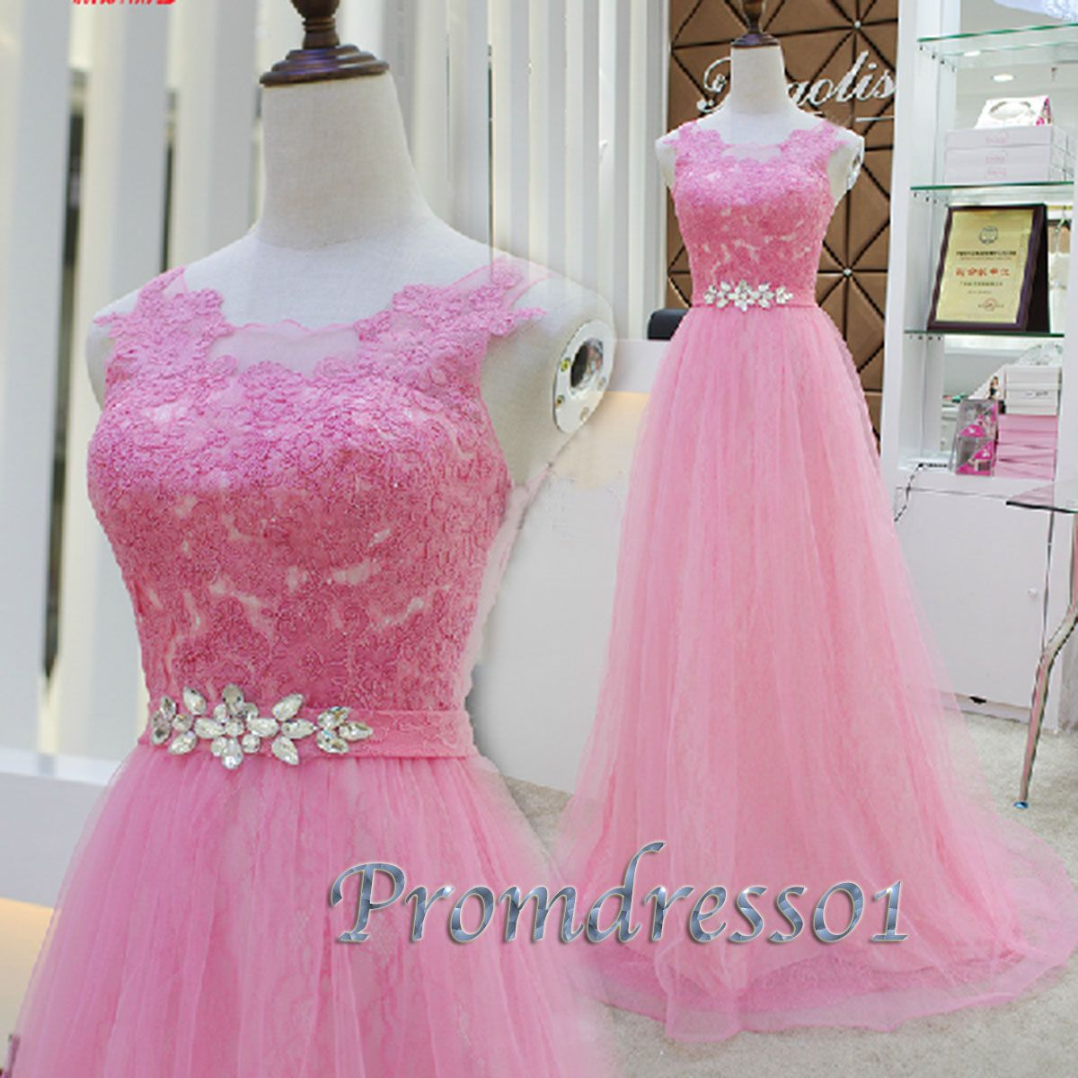 Cute prom dresses long, pink lace junior prom dress, winter formal ...