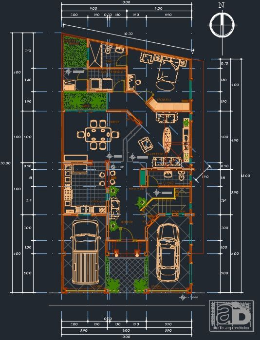 plano de casa de 4 dormitorios 2 niveles 10x20mtrs dwg