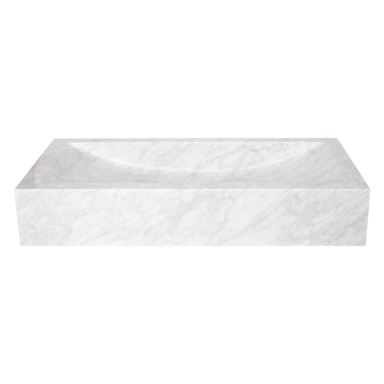 Rectangular Polished Carrara Marble Vessel Sink with Sloped Basin
