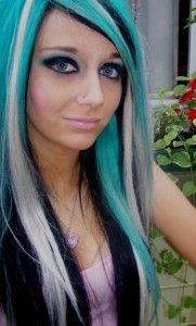 Blonde Turquoise Black Black Hair Blonde Streak Hair Dye Colors Hair Styles