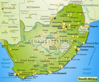 Karte Südafrika.Landkarte Von Südafrika Südafrika Landkarte Südafrika Und Karten