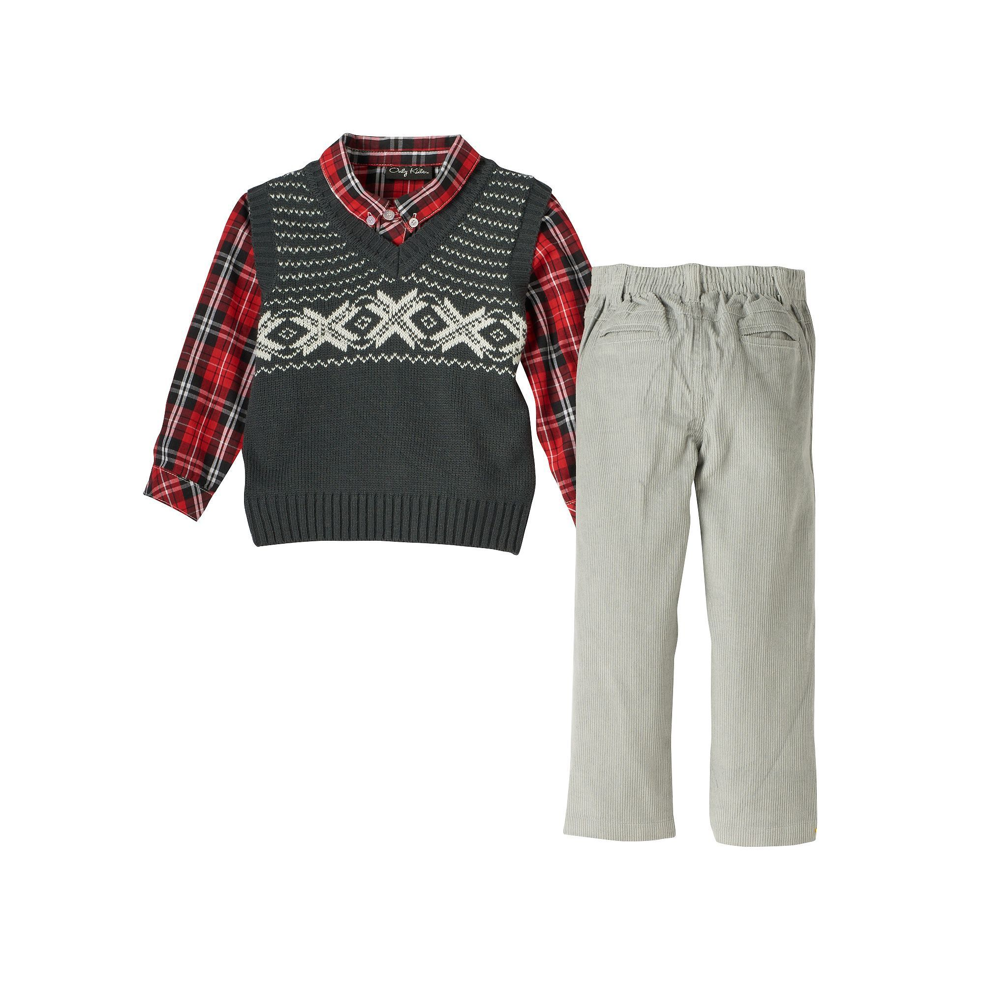 Baby Boy ly Kids Apparel Argyle Sweater Vest Plaid Shirt