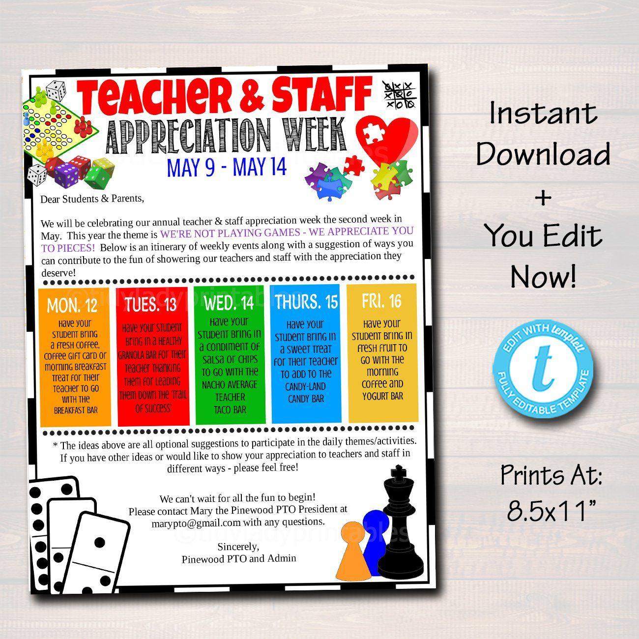 Games Theme Teacher Appreciation Week Take Home Newsletter Printable In 2020 Teacher Appreciation Week Teacher Appreciation Week Schedule Teacher Appreciation