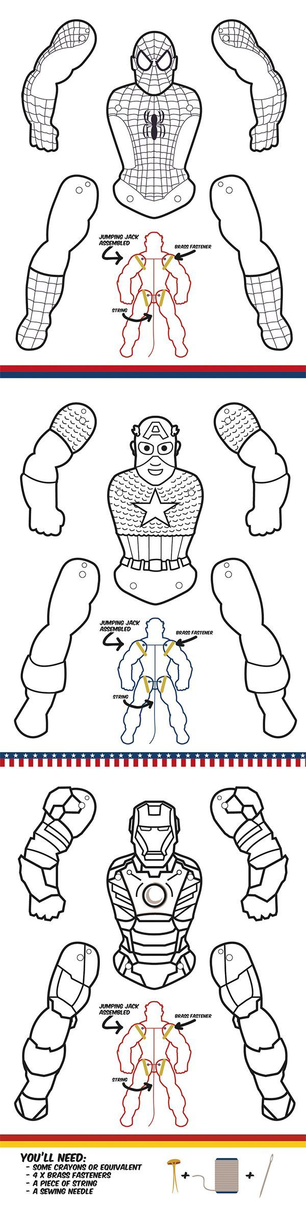 Uncategorized Superhero Printable Activities superhero jumping jacks coloring edition papercraft puppet edition