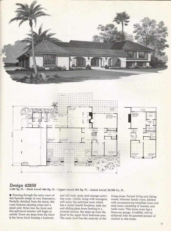 Split level Spanish style. Vintage House Plans, Vintage Homes, Mid ...