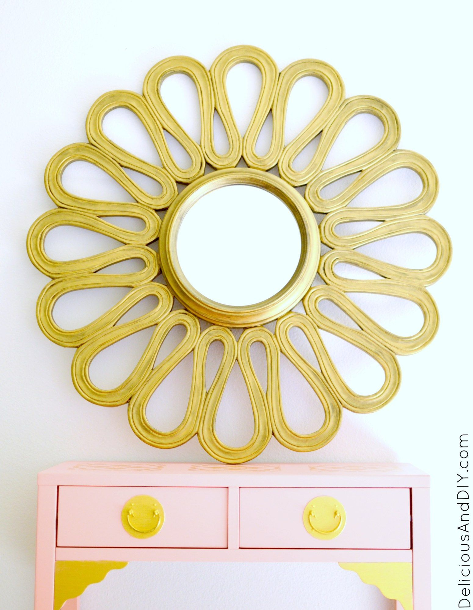 Gold Flower Mirror | Flower mirror, Diy mirror and Recycled mirrors
