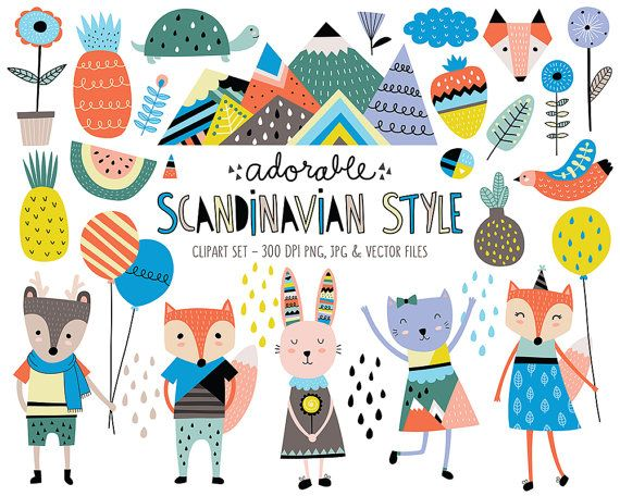 Cute Animals Clip Art Set Scandinavian Style Clipart Design Etsy Scandinavian Illustration Scandinavian Style Digital Clip Art Set