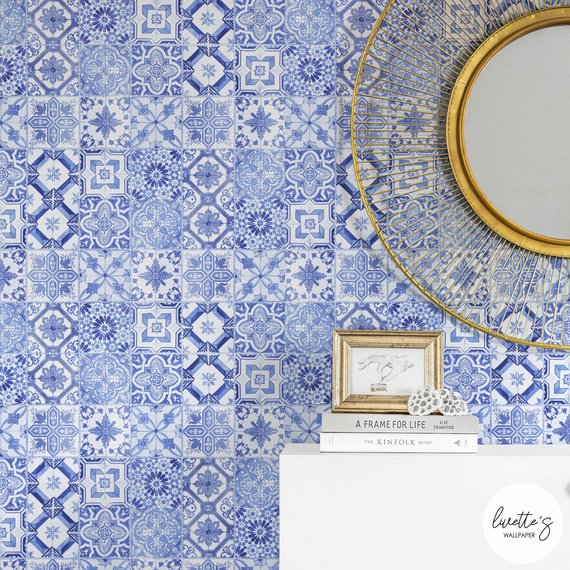 Blue Oriental Tiles Wallpaper Coastal And Nautical Temporary Etsy Blue Moroccan Tile Large Wall Decals Tile Wallpaper