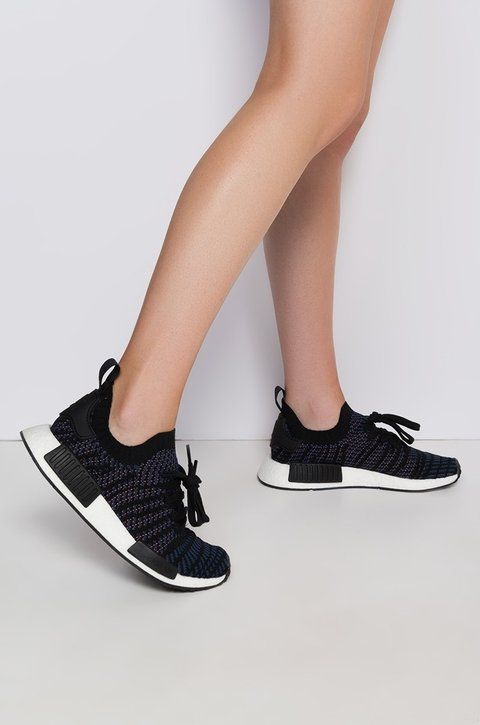 100% authentic 1cdb3 0ddc6 adidas NMD R1 STLT Primeknit Womens Sneakers in Black Pink Indigo