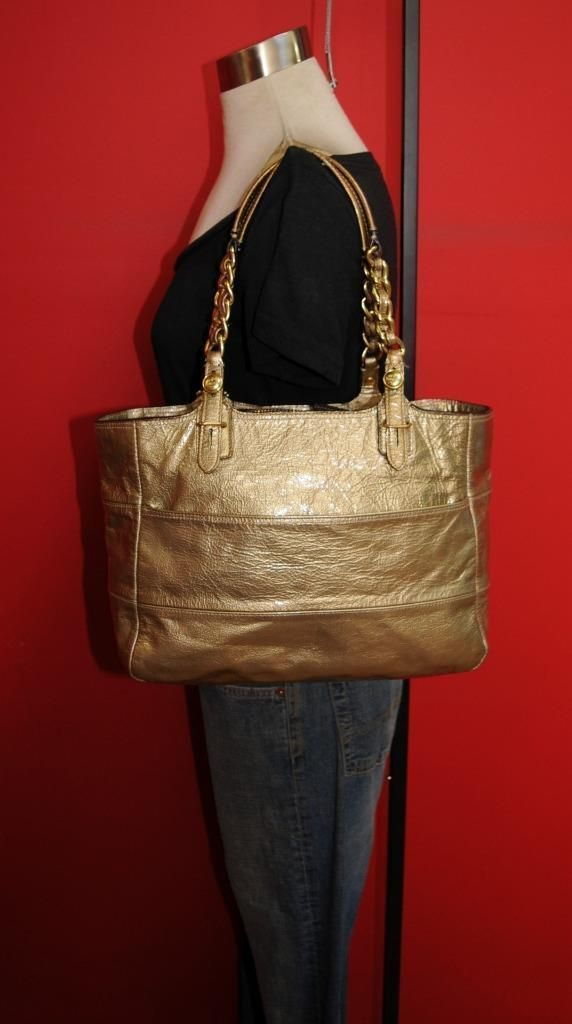d6cfabe261f3 COACH MADISON TRIBECA Gold Patent Leather Shopper Shoulder Tote Purse Bag  14120  18.99