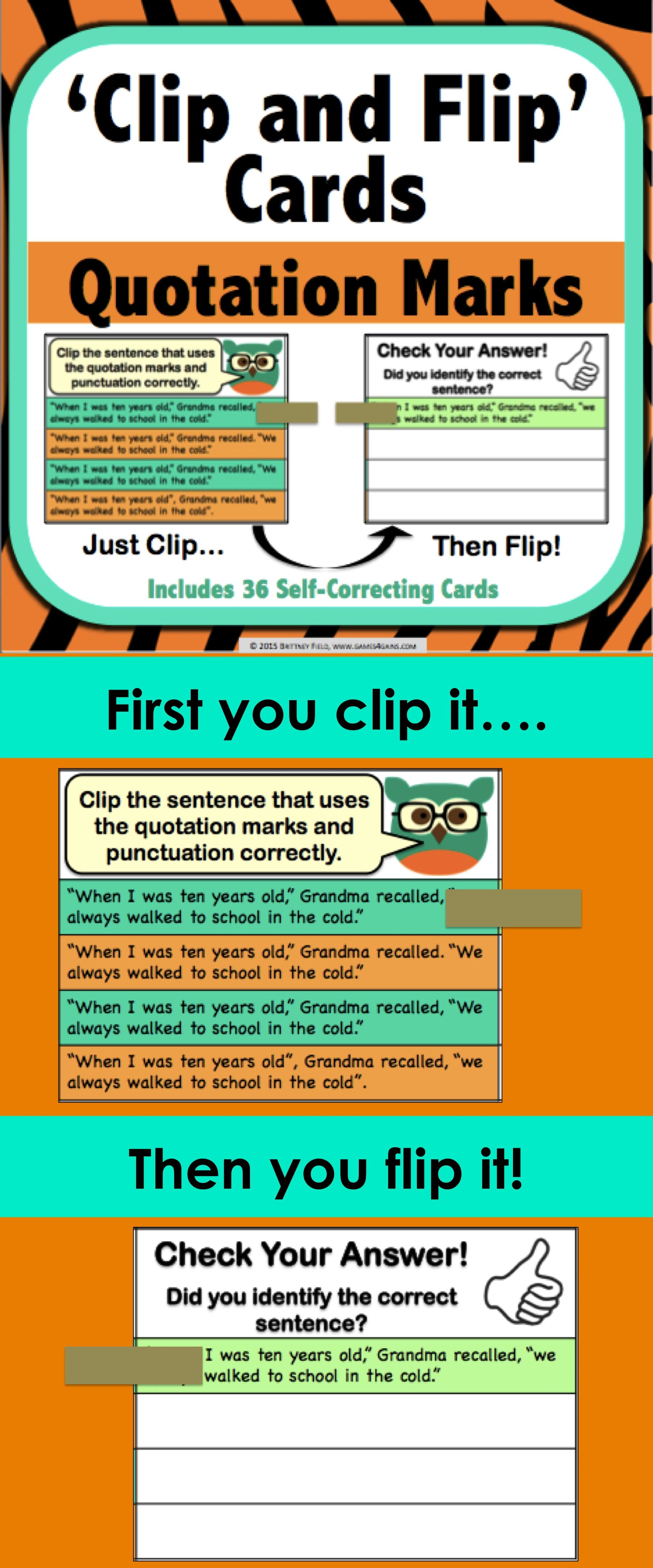Quotation Marks Task Cards Clip And Flip