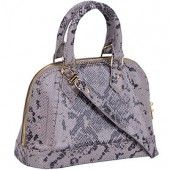 An attractive grey snakeskin leather offers a charismatic appeal to a much sought after LV design, the Alma