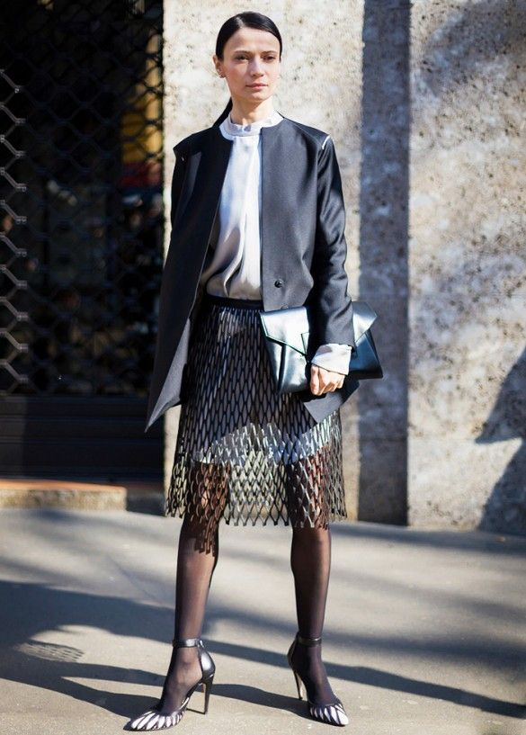 lattice textured skirt