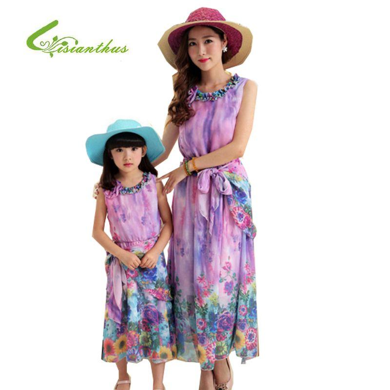 5d8109f9c5ace Girls Dress Mother & Kids Summer Bohemia Style Chiffon Beach Dress ...