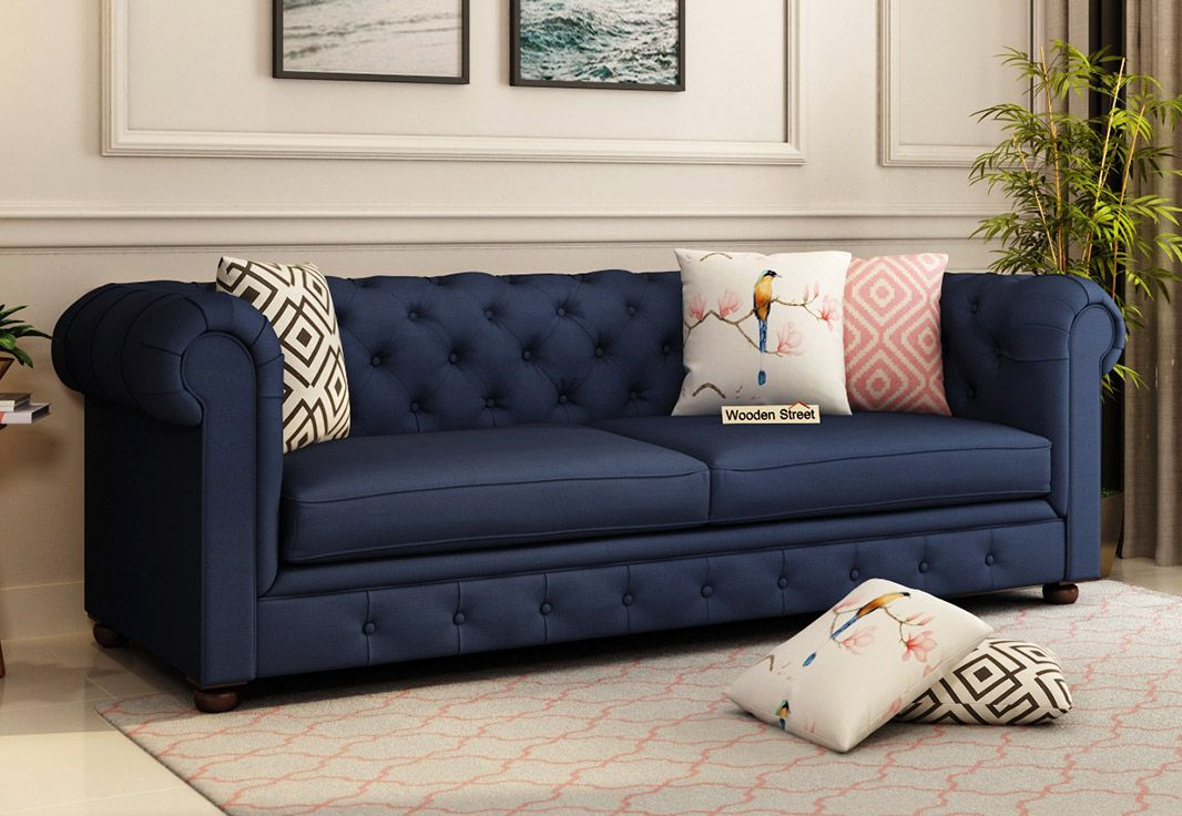 Buy Henry 3 Seater Sofa Fabric Indigo Ink Online In India Fabric Sofa 3 Seater Sofa Seater Sofa