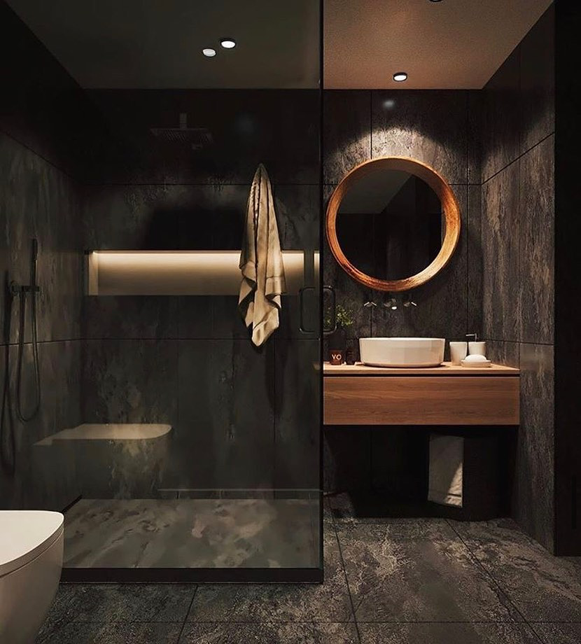 Modern Interior Design On Instagram The Dark And Moody Atmosphere Of This Bathroom Desig Modern Bathroom Design Modern Style Bathroom Best Bathroom Designs