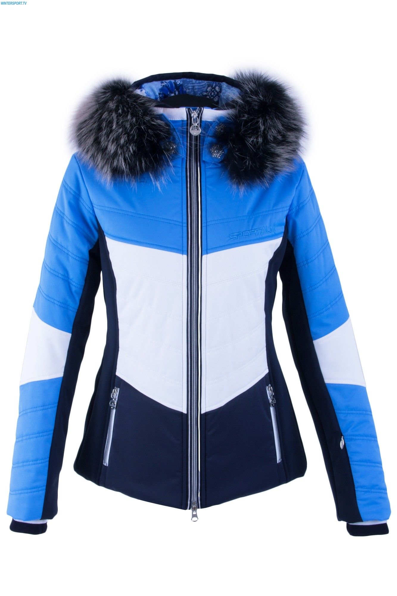 5d2594079c Sportalm Women Gazon Jacket with and Hood and Fur - Sky Blue